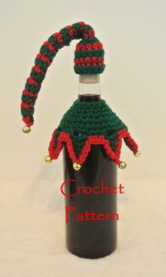 Elf Wine Bottle Cozy Crochet Pattern by KimberShooksDesigns, $2.00