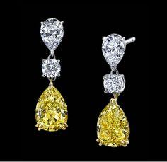 Raiman Rocks Yellow Diamond Earrings Coloured Diamond Jewellery Earring, which Jewelry Box, Vintage Jewelry, Jewelry Accessories, Fine Jewelry, Jewelry Design, Diamond Jewelry, Diamond Earrings, Diamond Stud, Drop Earrings