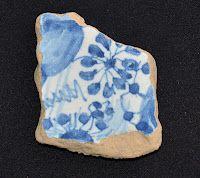 Delftware fragment found mudlarking on the Thames