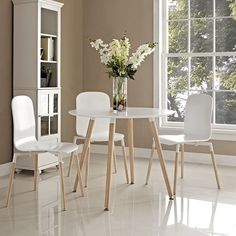 LexMod - Track Circular Dining Table in White