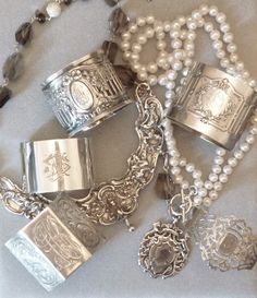 sterling jewelry made from vintage pieces - by Karen Lindner Designs Vintage Silver, Antique Silver, Vintage Jewelry, Antique Jewelry, Jewelry Accessories, Jewelry Design, Karen, Schmuck Design, Sterling Silver Jewelry