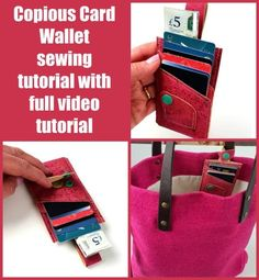 Copious Card Wallet sewing pattern with full video tutorial. Designed so you have somewhere to keep all those extra store cards – and your trolley/cart token easily to hand! Easy cork wallet to sew with full video instructions. #SewModernBags #SewAWallet #SewACardWallet #WalletSewingVideo #CardWalletSewingVideo #SewABagVideo #BagSewingVideo