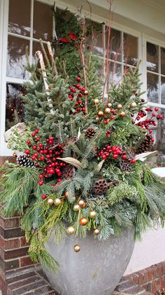 More From The 2017 Bachman's Holiday Ideas House Outdoor Christmas Planters, Christmas Urns, Front Door Christmas Decorations, Christmas Holidays, Christmas Wreaths, Advent Wreaths, Christmas Tables, Nordic Christmas, Christmas Gifts