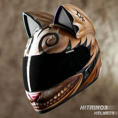 For those of us who love cats and motorcycles with equal measure, Russian motorcycle helmet company Nitronos Motostudio has created the Neko-helmet, a Motorcycle Tattoos, Custom Motorcycle Helmets, Custom Helmets, Custom Motorcycles, Motorcycle Outfit, Style Badass, Russian Motorcycle, Russian Cat, Moto Cross