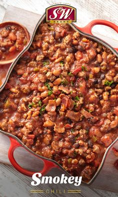 The chipotle chiles and adobo sauce? Or the thick cut bacon, ground beef and pork, and 2 kinds of beans? There's a lot of bold flavors in this recipe for your taste buds to crave. Bean Recipes, Soup Recipes, Cooking Recipes, Chili Recipes, Recipies, Bacon Chili Recipe, Pulled Pork Chili, Pork N Beans, Baked Beans