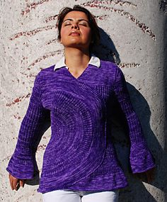 Spoke Sweater. Free pattern from Knitty.com. Can be sewn closed to create a pullover, or use fasteners to create a cardigan.