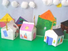 Milk Carton Houses Lesson Plan: Recycling for Kids - Art on a Shoestring (Making art from recycled materials) KinderArt