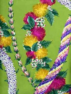 70lole Tropical Hawaiian lei flowers, cotton apparel fabric. Add Discount code: (Pin10) in comment box at check out for 10% off sub total at BarkclothHawaii.com