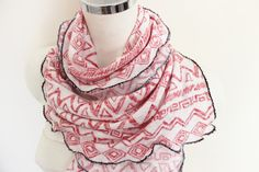 Red and White scarf Big man scarf Soft cotton by Nazcolleccolors