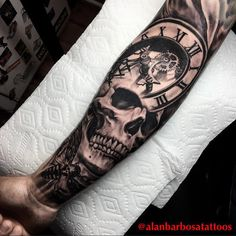 Skull Tattoos: Life and Death Stamped on Your Skin! Hand Tattoos, Skull Rose Tattoos, Skull Sleeve Tattoos, Forarm Tattoos, Best Sleeve Tattoos, Tattoo Sleeve Designs, Life Tattoos, Body Art Tattoos, Tattoos For Guys