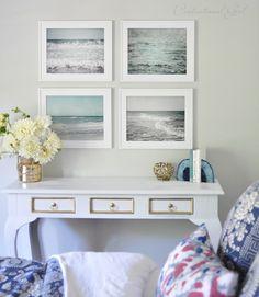 beach prints above console
