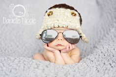 Aviator Hat Newborn 0 3m 6m Brown Bomber Hat Crochet Photo Prop Baby Clothes Boys Girls Gift CUTE Christmas Gift
