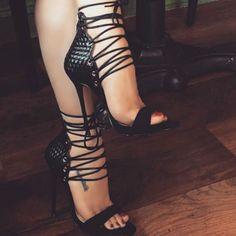 Elegant Lace Up Stiletto Heels #blackstilettoheels #laceuphighheelboots