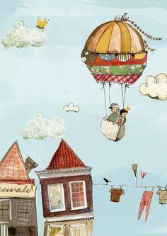 """Children's Picture """"Balloon"""" Hot Air Balloon, Nursery Poster Kinderbild """"Ballon"""" Heißluftballon, Kindergartenplakat Ballon Illustration, Book Illustration, Whimsical Art, Hot Air Balloon, Cute Art, Art For Kids, Balloons, Illustrator, Wall Art"""