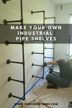 Pipe Bookshelf, Diy Pipe Shelves, Galvanized Pipe Shelves, Shelves With Pipes, Pipe Shelving, Diy Wall Shelves, Industrial Shelving Diy, Industrial Closet, Living Room Shelves