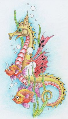 Charming animated seahorse swimming with fishes among weeds tattoo design by Mark Fellows Sea Life Art, Sea Art, Seahorse Art, Seahorses, Seahorse Painting, Desenho Tattoo, Fish Art, Sea Creatures, Rock Art