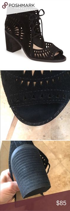 """Vince Camuto Tarita Black suede, size 8.5, true to size, geometric cut-out lace-up, back zip, 2.5"""" heel, worn 2x, no trades Vince Camuto Shoes Ankle Boots & Booties"""
