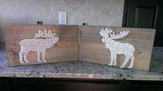 DIY elk and moose wood, nail and string art