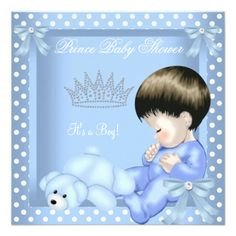Little Prince Baby Shower Boy Blue White Polka dot Personalized Invites