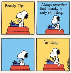 Snoopy Beauty Tips cartoon via www.Facebook.com/Snoopy