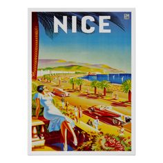 Nice France ~ Vintage French Riviera Travel Ad Print