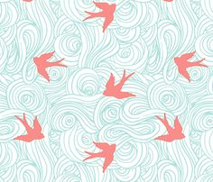 Ocean Flight in Aqua and Coral fabric by willowlanetextiles on Spoonflower - custom fabric Coral Wallpaper, Custom Wallpaper, Wall Wallpaper, Temporary Wallpaper, Wallpaper Ideas, Textures Patterns, Fabric Patterns, Print Patterns, Paper Scrapbook