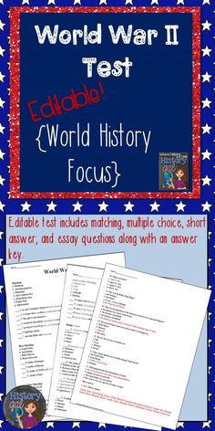 Introduction to lesson on world war i short ends with intro world war ii test includes matching multiple choice short answer and essay fandeluxe Choice Image