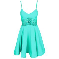 Choies Mint Green Spaghetti Strap Lace Waist Skater Dress ($20) ❤ liked on Polyvore featuring dresses, green, skater dress, lace cocktail dress, blue dress, green lace dress and lacy dress