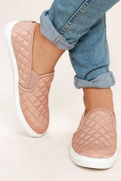Put your unique style on display with the Steve Madden Ecntrcqt Blush Quilted Slip-On Sneakers! Quilted fabric covers these cool, slip-on sneakers with elastic gussets for fit. off-white rubber bumper sole. Metal logo tag at back. Heel Boots For Women, High Heels Boots, Black High Heels, Heeled Boots, Shoe Boots, Shoes For Women, Cute Womens Shoes, Shoes Heels, Cute Sneakers For Women