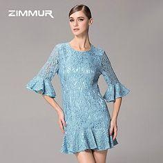 小鱼的小店,zimmur 2015春装新款女士圆领公主袖蕾丝镂空修身荷叶边连衣裙女RD65007733