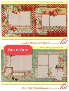 "PaisleysandPolkaDots.com ""Lazy Summer Days et sur la promenade"" - $ 28,50 - Deux, 2-Page Kit disposition"