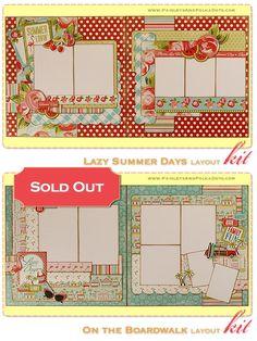 """PaisleysandPolkaDots.com """"Lazy Summer Days et sur la promenade"""" - $ 28,50 - Deux, 2-Page Kit disposition"""