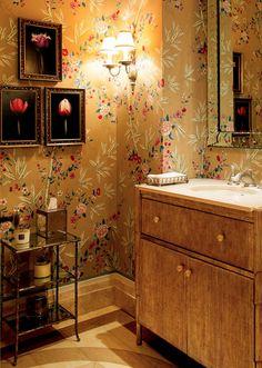 Should I do this with my cockatoo wallpaper? Vanity Decor, Vanity Ideas, Decor Interior Design, Interior Decorating, Mario Buatta, Pink Vanity, English Country Style, Bathroom Pictures, Bathroom Wallpaper