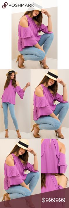 """FLASH SALE  ORCHID RUFFLE BLOUSE Relaxed fit. True to size. 3/4 bell sleeves. Keyhole back button closure. Semi-sheer. Woven. Lightweight. 26"""" in length. Pit to pit measurements: small- 20"""" medium 21"""" large 22"""". 100% rayon. Tops Blouses"""