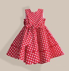 Summer Girl Dress with Hat Red Dot Fashion Bow Girls Dresses Casual A-line Kids Clothes robe fille enfant Cotton Frocks For Kids, Frocks For Girls, Kids Frocks, Little Girl Dresses, Girls Dresses, Vestido Dot, Polka Dot Summer Dresses, Dots Fashion, Baby Dress Patterns