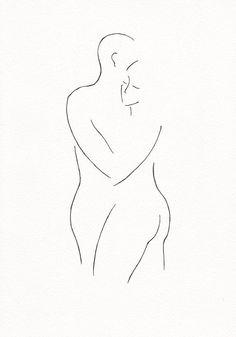 Minimalist couple line art. Black and white romantic illustration wall art…                                                                                                                                                     More