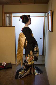 beautiful black kimono with gold obi