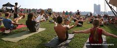 yoga at Pier Six led by Michael Franti. sweet.