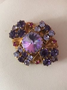 Costume Jewellery Brooch With Purple Blue Pink & Red Stones Gold Tone Metal Vintage Costume Jewelry, Vintage Costumes, Metal Jewelry, Antique Jewelry, Red Stones, Stone Gold, Purple, Pink, Blue