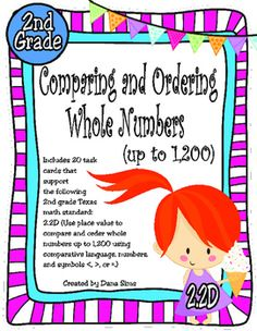 Includes 20 task cards that support the following 2nd grade Texas math standard:2.2D (Use place value to compare and order whole numbers up to 1,200 using comparative language, numbers, and symbols <, >, or =.)Also includes a gameboard, an answer key, and an answer document.