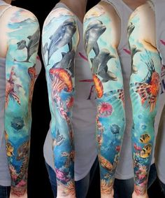 Aquatic full sleeve realism by Andrey Grimmy