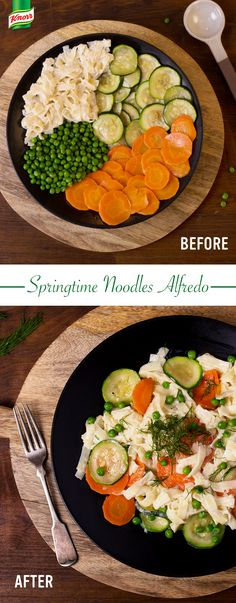 Spring is finally blooming! We have a homemade treat to start the season with our Springtime Noodles Alfredo. Melt Spread in skillet over medium-high heat & cook carrots, zucchini & garlic, stirring occasionally, until vegetables are tender; remove & set aside. Stir water & milk into same skillet & bring to boil. Stir in Knorr® Italian Sides™ Alfredo, peas & dill & continue boiling over medium heat, stirring occasionally, until pasta is tender. Stir in vegetables & pepper; heat through.