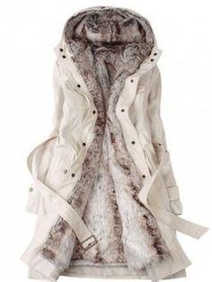 Hooded Decorative Buttons Patch Pocket Belt Two Way Plain Coats - berrylook.com