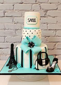 Tiffany Blue Eiffel Tower Cake