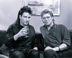 Bono and Adam Clayton Unforgettable Fire U2 Zooropa, Bono U2, The Unforgettable Fire, Larry Mullen Jr, Adam Clayton, U 2, Living Legends, Playing Guitar, Cool Bands