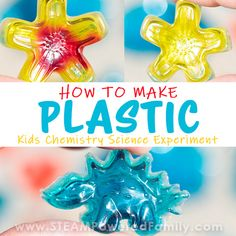 How to make hard, clear plastic science experiments for kids Science Crafts, Easy Science, Science Fair Projects, Science Experiments Kids, Science For Kids, Elementary Science, Science Art, Craft Projects, Earth Day Activities