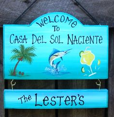 Welcome Sign With Your Name Palm Tree Fish Marlin Margarita Custom Camp Or  Home Sign Personalized