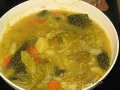 Thick soup of kale - with potatoes and carrots - various types of dried meat (slices of sausage) or bits of fresh meat can be added.