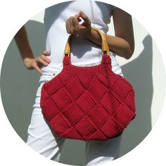 Cerise Red Beach Bag Knit in Cotton with Rattan Handles | knitBranda