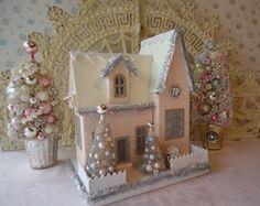 PINK Putz House w/ Bottle Brush Trees -  Shabby ROSES, Tinsel and Bling!